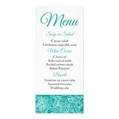 Floral Blue Teal Daisy Flowers Wedding Party Rack Card Custom Office Retirement #office #retirement