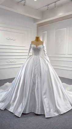 Wedding Frocks, Fancy Wedding Dresses, Sheer Wedding Dress, Wedding Dress Necklines, Luxury Wedding Dress, Gorgeous Wedding Dress, Ball Gown Wedding Dresses, Ball Dresses, Bridesmaid Dresses