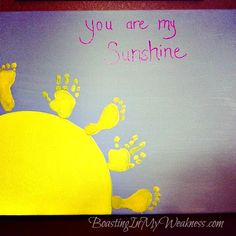 You are my sunshine canvas foot and hand print art (thinking of this as an idea of a tattoo) Baby Crafts, Cute Crafts, Summer Crafts, Holiday Crafts, Projects For Kids, Crafts For Kids, Footprint Crafts, Rainbow Birthday Party, Handprint Art