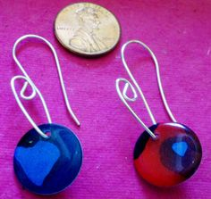 Earrings Cool Ecochic Reversible Circles Made from Paper and Popcans by Jewellori, $16.50