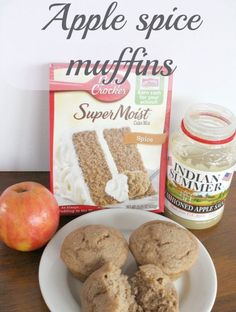 Delicious and easy Apple spice muffins are made with only 3 ingredients! I used spice cake, apple sauce and a chopped up fresh apple. A moist, filling and easy muffin to make. Muffin Recipes, Apple Recipes, Fall Recipes, Delicious Recipes, Fruit Recipes, Applesauce Spice Cake, Cake Mix Muffins, Coffee Muffins, Three Ingredient Recipes
