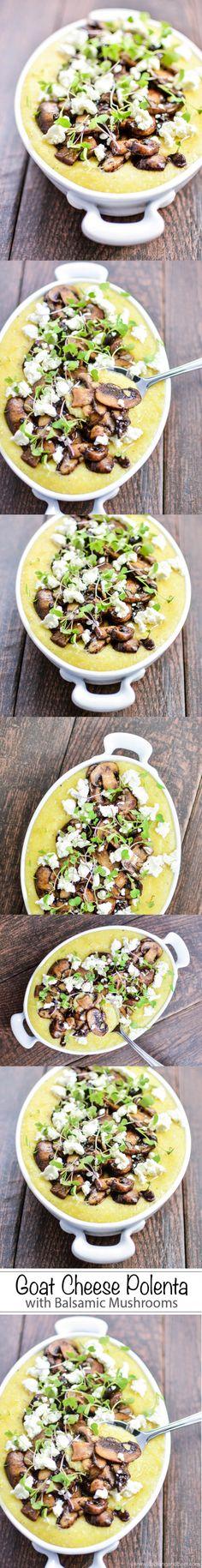 Ziegenkäse-Polenta mit Balsamico-Pilzen – #balsamico #pilzen #polenta #ziegenkase