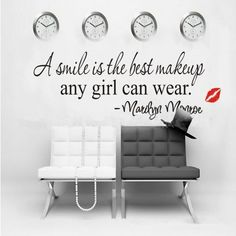 Marilyn Monroe Wall Decals: A smile is the best makeup any girl can wear. ............ Get Marilyn Monroe Wall Decals at Amazon from Wall Decals Quotes Store