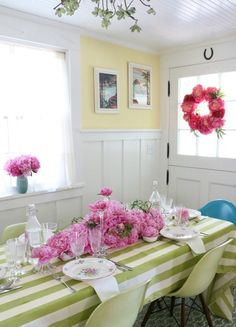 Decorating your dinner table with masses of peonies.