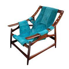 1960's jacaranda lounge chair upholstered with leather, by Liceu de Arte e Oficio (São Paulo School of Arts and Crafts), Sao Paulo - Brazil