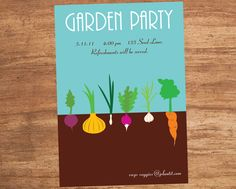 Garden Party Custom Printable Invitation by SBVintageAndDesign, $10.00