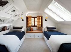Pics on walls and shelving. pitched ceiling and built-in beds make a cozy guest nook; patchwork quilts by Restoration Hardware and Ralph Lauren shams. Attic Master Bedroom, Attic Bedrooms, Bunk Rooms, Bedroom Loft, Guest Bedrooms, Home Bedroom, Bedroom Decor, Guest Room, Built In Bunks
