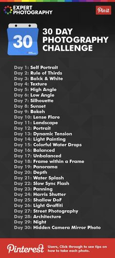 30 Day Photography Challenge Project - Photography, Landscape photography, Photography tips Photography Cheat Sheets, Photography Basics, Photography Lessons, Photography Projects, Book Photography, Photography Business, Photography Tutorials, Creative Photography, Digital Photography