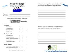 """WONDERFUL… covers a key component in teaching students to critique the performance of others… as a teacher, I can help guide them through the process with this sheet! """"You Be the Judge"""" Critical Listening Cards - Pianimation.com"""