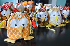 One dozen little owls for my favorite little four year old.  I finished just in time to fill them with popcorn and candy corn. Moses was de...