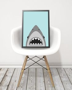 Haai art print blauw en grijs haai print jongens door kiwiNberries