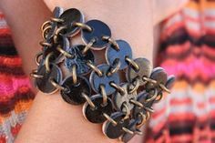 Bracelet made of small lether circles - Wow!