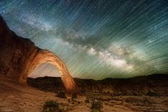 Corona Arch Utah at Night with star trails  BTS & EXIF in comments [20481368][OC] #reddit