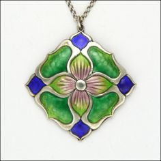 English Arts & Crafts Silver Enamel Flower Pendant Necklace, 1910