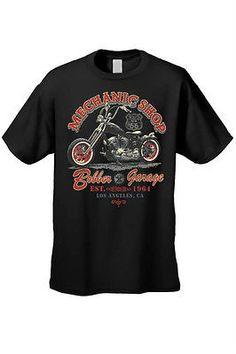 Men's Biker T-Shirt Motorcycle Mechanic Shop Bobber Garage .A. S-XL