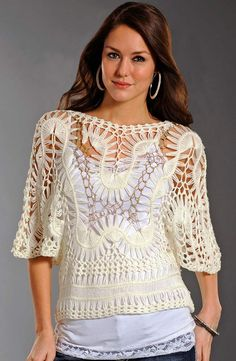 Hairpin Crochet Top. The center features gold Lurex thread. http://media-cache-ak0.pinimg.com/736x/27/98/a7/2798a7530b96c7d7ac866d03d05594d4.jpg