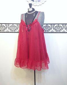1960's Cherry Red Baby Doll Chiffon Nightie XL by RetrosaurusRex