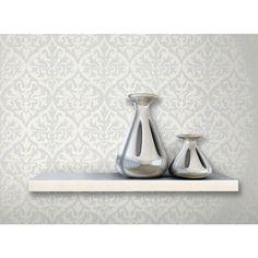 56 sq. ft. Sumatra Silver Ikat Damask Wallpaper
