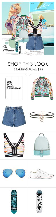 """Live,Love,Laugh and Skateboard"" by rainie-minnie ❤ liked on Polyvore featuring F, Casetify, Gucci, Glamorous, Miss Selfridge, River Island, MICHAEL Michael Kors, Ray-Ban, Converse and Darkstar"