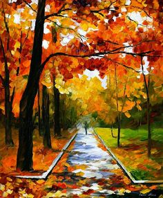 Oil Paintings Painting - November Park - Palette Knife Oil Painting On Canvas By Leonid Afremov by Leonid Afremov