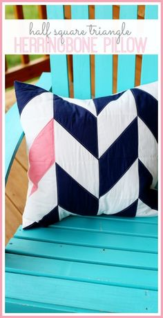 half square triangle hst herringbone pillow free pattern - love this!!  it's simple to make, but looks like so much more! a fun way to try quilting diy - - Sugar Bee Crafts