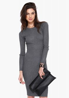 Super Simple Madeline Sweater Dress in Charcoal
