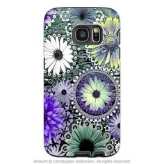 Floral Galaxy S7 Case - Artistic Green and Purple Daisy Samsung Galaxy S7 Tough Case - Tidal Bloom