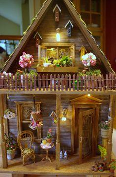 Потрепанный фермерский дом миниатюрный Кукольный домик Ooak по VintageButterfly66
