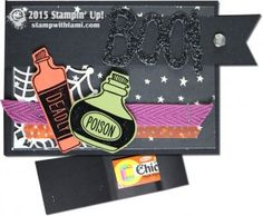 """stampin up Halloween Chicklet Gum Treat Holder video on blog. by jen gulch. ——— S U P P L I E S ———  • Sweet Hauntings Clear-Mount Stamp Set #139705 • Happy Haunting Designer Series Paper #139584 • Happy Haunting Designer Washi Tape #139608 • Black Glimmer Paper #139605 • Basic Black 12"""" X 12"""" Cardstock #124267 • Old Olive 8-1/2X11 Card Stock #100702 • Tangelo Twist 8-1/2"""" X 11"""" Cardstock #133677 • Versamark Pad #102283 • Into The Woods 3/8"""" Cotton Ribbon #139612 • Iced Rhinestone"""