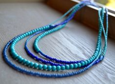 Four Strand Asymmetrical Beaded Turquoise and by uniquebeadingbyme