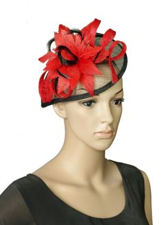 Red/Black Sinamay Wedding Fascinator Hats Corsage Flower Feather Hair Band Headband