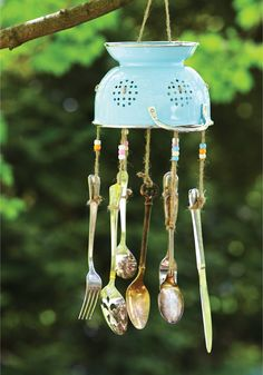 Craft this unique wind chime out of old kitchen utensils.