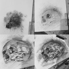 """Step by step ✏️✏️✏️ #art #artnerd #moleskin #sketchaday #sketch #drawing #charcoal #instaart  #edgeprogear #sketchbook #instaart #skull #skullart #artist"" Photo taken by @chrissimsart on Instagram, pinned via the InstaPin iOS App! http://www.instapinapp.com (09/09/2015)"