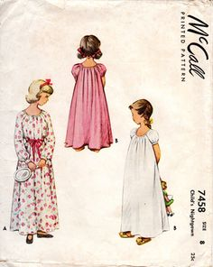 1940s Girls Nightgown Pattern - Vintage McCall 7458 - Size 8 by ErikawithaK on Etsy