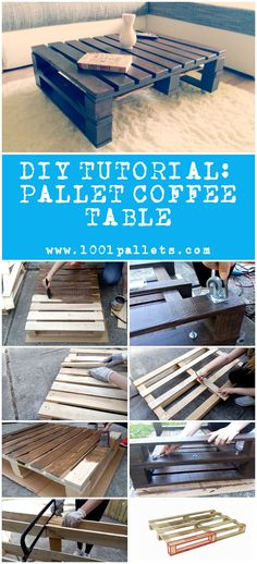 "#CoffeeTable, #RecycledPallet, #Tutorial This tutorial by Bettina from ""PaintyCloud"" will show you how to make a simple pallet coffee table. 3 Pallets. 5 Hours. We evaluated this project as an easy difficulty project. Available as a PDF File. To download this tutorial,"