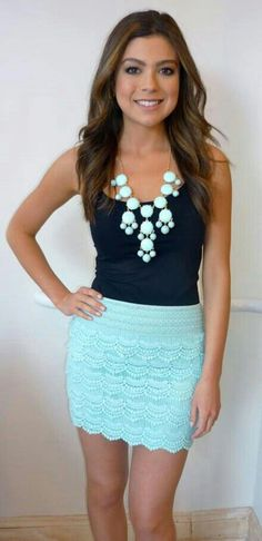 Love the color! Skirt has to be longer