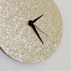 Unique Wall Clock, Gold Glitter Clock, Great Gatsby, Quiet Clock,  Home and Living, Decor & Housewares, Living Room Decor, Unique Gift