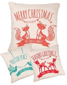 Fox Deer or Dove Christmas Cushion