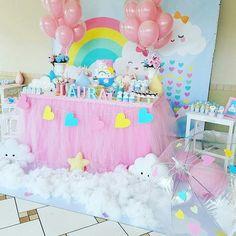Birthday Party Rainbow Theme Baby Shower 16 Ideas For 2019 1st Birthday Party For Girls, Rainbow Birthday Party, Rainbow Theme, Unicorn Birthday Parties, Unicorn Party, Baby Birthday, Birthday Party Decorations, Rain Baby Showers, Cloud Party