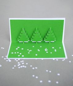 Christmas pixel popup cards with template