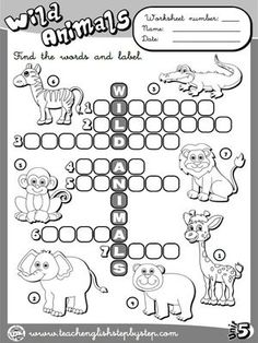 Wild Animals - Worksheet 1 (B&W version) English Activities For Kids, English Teaching Resources, English Worksheets For Kids, English Lessons, Learn English, English Primary School, Ingles Kids, Animal Worksheets, Literacy Worksheets