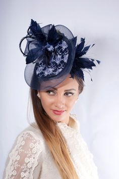 Navy Fascinator Hat Melbourne Cup Kentucky Derby Ascot Wedding Guest Headpiece Couture Millinery Lace