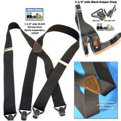 e5f7e9823 Hold-Ups® Black Snow Ski Suspenders 1 wide Patented Gripper Clasps X-back