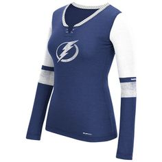 Size: Medium Women's Tampa Bay Lightning Reebok Royal Long Sleeve Hockey Top Henley PlayDry® T-Shirt