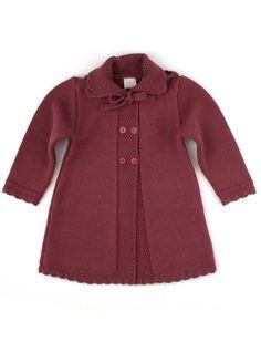 Little girls autumn coat with bonnet in burgundy