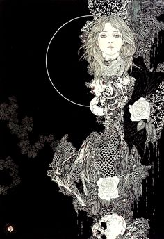 Takato Yamamoto (Japanese) - lithography and printing ink on paper in a traditional Japanese style. His first exhibition was held in Tokyo in 1998. (shades of Aubrey Beardsley methinks) #Illustration