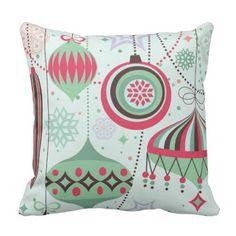 Pastel Tones Art-Deco Christmas Ornaments Throw Pillow