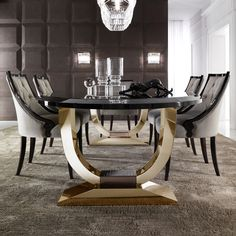 Italian Black Lacquered Gold Oval Dining Set at Juliettes Interiors, discover a large collection of contemporary Italian dining sets.