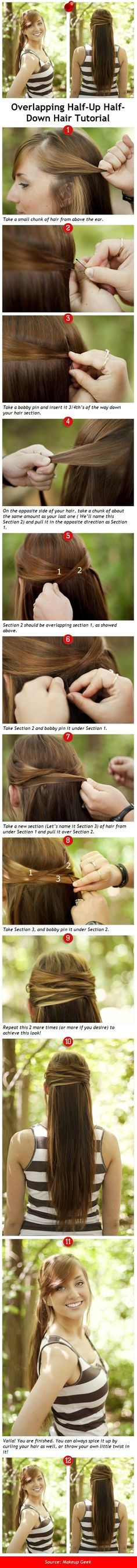 Overlapping Half-Up Half-Down Hair Excellent Tutorial DYI Updo elegant. Can easily be combined with a braid or a bun!