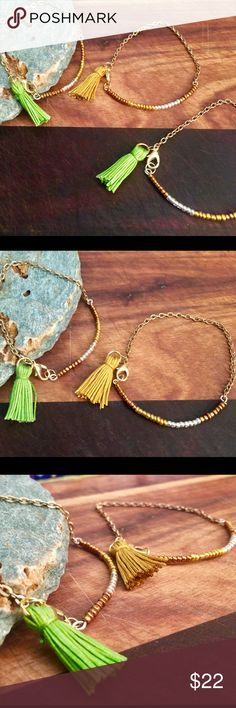 Glass Seeded Bar Tassel Bracelet If you like dainty jewelry, this bracelet is just your style. A Painted Jezebel original made with either a gold or green tassel, this bracelet is 7 1/4 inches but can be custom ordered for a larger or smaller wrist. The Painted Jezebel Designs Jewelry Bracelets